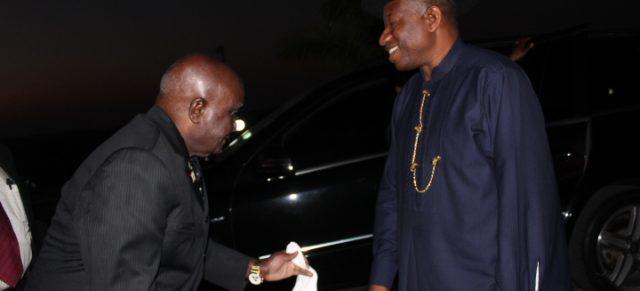 Former President Goodluck Jonathan meets former Zambian President Kenneth David Kaunda